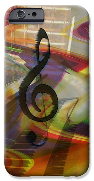 Energy Art Movement iPhone Cases - Musical Waves iPhone Case by Linda Sannuti
