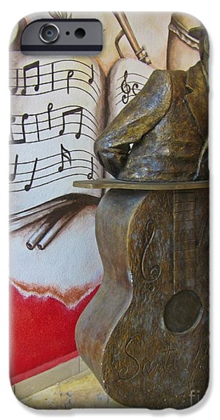 Celebrities Sculptures iPhone Cases - Musician Sculpture and Mural iPhone Case by John Malone