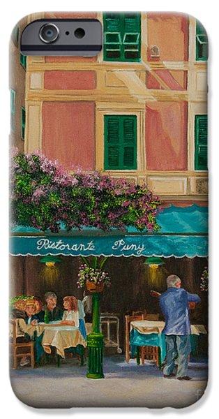 Portofino Cafe iPhone Cases - Musicians Stroll In Portofino iPhone Case by Charlotte Blanchard