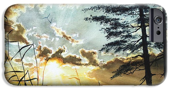 Tree Art Print iPhone Cases - Muskoka Dawn iPhone Case by Hanne Lore Koehler