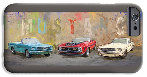 Old Cars iPhone Cases - Mustang Panorama Painting iPhone Case by Eduardo Tavares