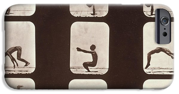 High Speed Photography iPhone Cases - Muybridge Locomotion Back Hand Spring iPhone Case by Photo Researchers