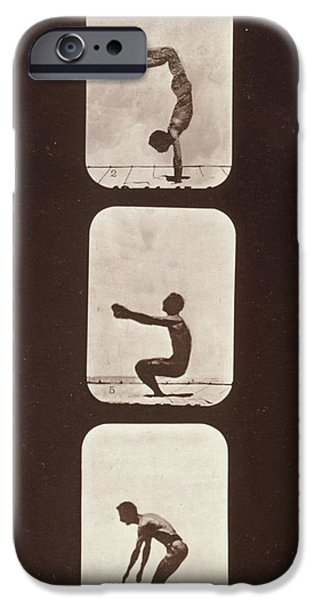 Muybridge Locomotion Back Hand Spring iPhone Case by Photo Researchers