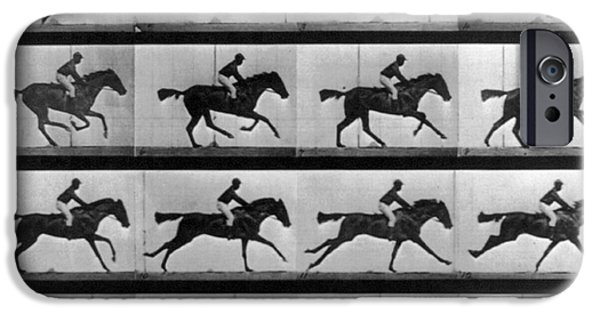 High Speed Photography iPhone Cases - Muybridge Locomotion Racehorse iPhone Case by Photo Researchers