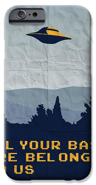 David iPhone Cases - My All your base are belong to us meets x-files I want to believe poster  iPhone Case by Chungkong Art