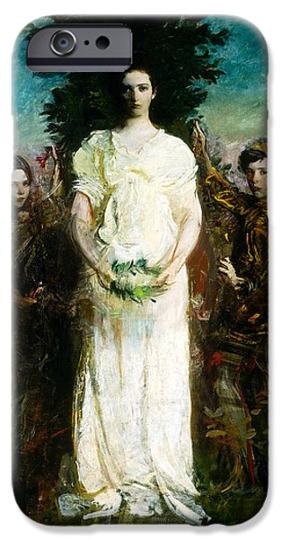 Abbott Handerson Thayer iPhone Cases - My Children Mary Gerald and Gladys Thayer iPhone Case by Abbott Handerson Thayer