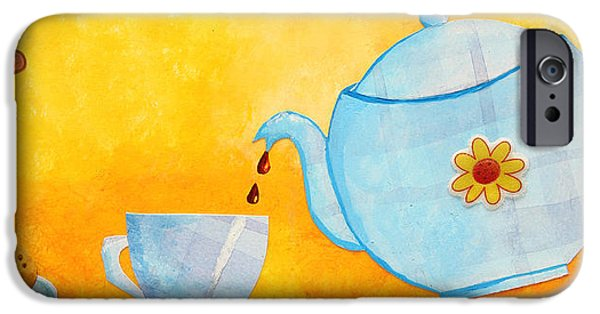 Tea Party Drawings iPhone Cases - My Fancy Kitchen iPhone Case by Nirdesha Munasinghe