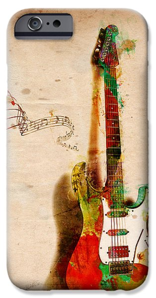 Abstract Digital Art iPhone Cases - My Guitar Can SING iPhone Case by Nikki Smith