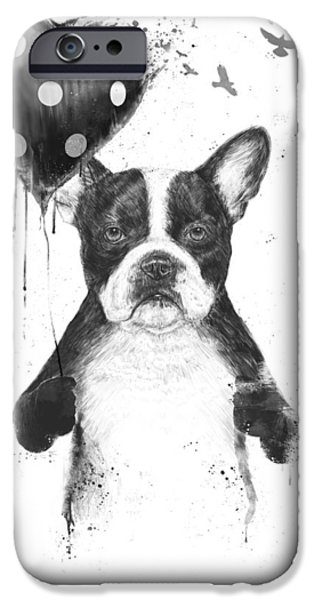 Bulldog iPhone Cases - My heart goes boom iPhone Case by Balazs Solti