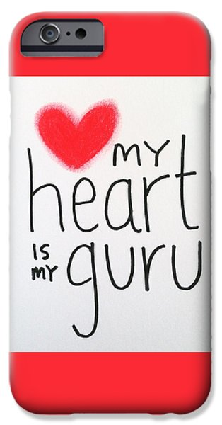 Buddhist iPhone Cases - My heart is my guru iPhone Case by Tiny Affirmations