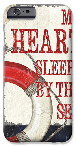 Device iPhone Cases - My Heart Sleeps by the Sea iPhone Case by Debbie DeWitt