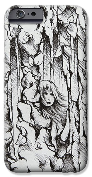 Tree Roots Drawings iPhone Cases - My Hiding Place iPhone Case by Rachel Christine Nowicki