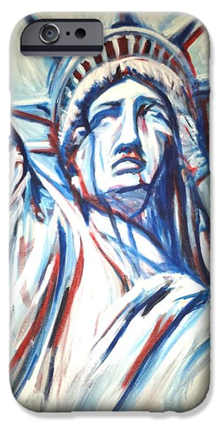Fourth Of July iPhone Cases - My lady liberty  iPhone Case by Pedro  Flores