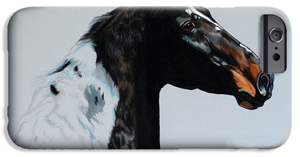 Drawing Of A Horse iPhone Cases - My Magik Marker - Saddlebred Head Study iPhone Case by Cheryl Poland
