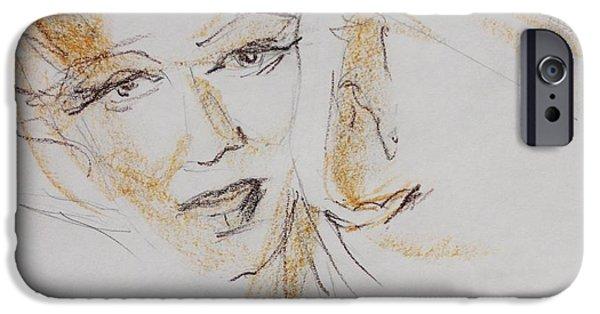 Celebrities Art Pastels iPhone Cases - My Marilyn  iPhone Case by Tatjana Krilova