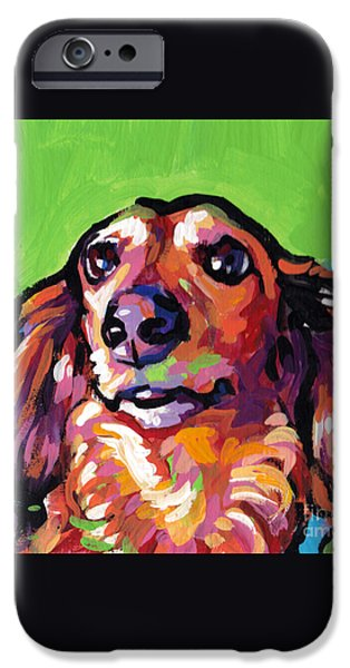 Dachshund Art iPhone Cases - My Nose Knows iPhone Case by Lea
