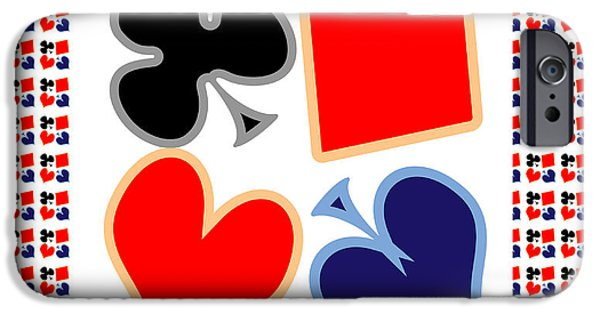 Coins Mixed Media iPhone Cases - My Poker Room Decorations  Heart Spade Clubs Diamond Card Games Collection iPhone Case by Navin Joshi