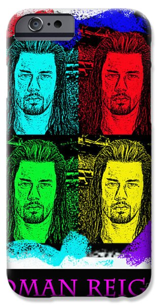 Minnesota Drawings iPhone Cases - My Prediction for the World Heavyweight Championship Winner of Wrestlemania 2015 Roman Reigns iPhone Case by Jim Fitzpatrick