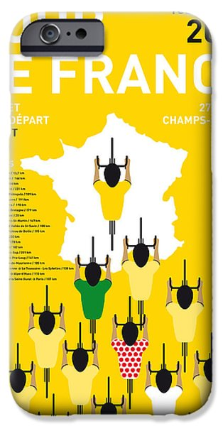Cycle iPhone Cases - My Tour De France Minimal Poster Etapes 2015 iPhone Case by Chungkong Art