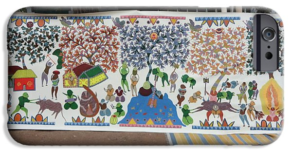 Gond Tribal Paintings iPhone Cases - My Village 2005 iPhone Case by Ram Singh Urveti