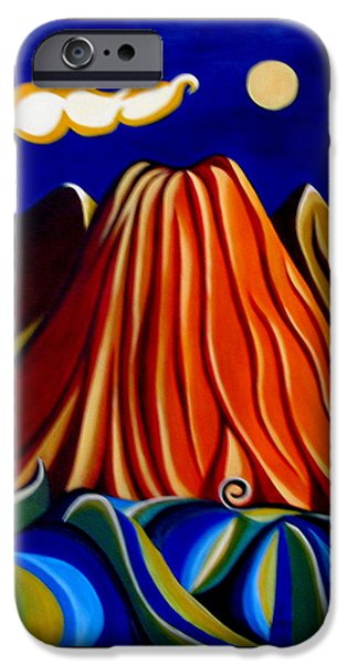 Nature Abstract iPhone Cases - My volcano iPhone Case by Samina Islam