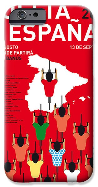 Cycling iPhone Cases - My Vuelta A Espana Minimal Poster Etapas 2015 iPhone Case by Chungkong Art