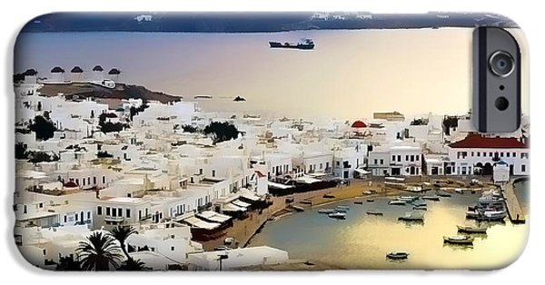 Waterscape Paintings iPhone Cases - Mykonos Greece iPhone Case by Dean Wittle
