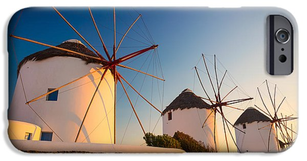 Sea iPhone Cases - Mykonos Windmills iPhone Case by Inge Johnsson