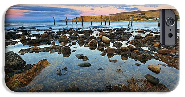Fleurieu Peninsula iPhone Cases - Myponga Beach Jetty Ruins Sunset iPhone Case by Bill  Robinson