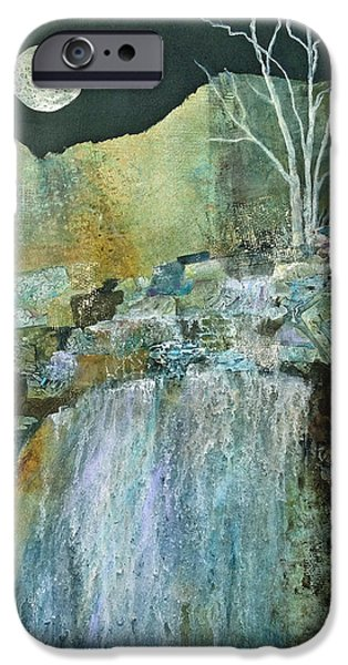 Moonscape Mixed Media iPhone Cases - Mystic Moon II iPhone Case by Kay Fuller