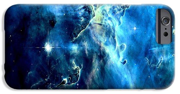 Stellar iPhone Cases - Mystic Mountain Blue iPhone Case by Johari Smith