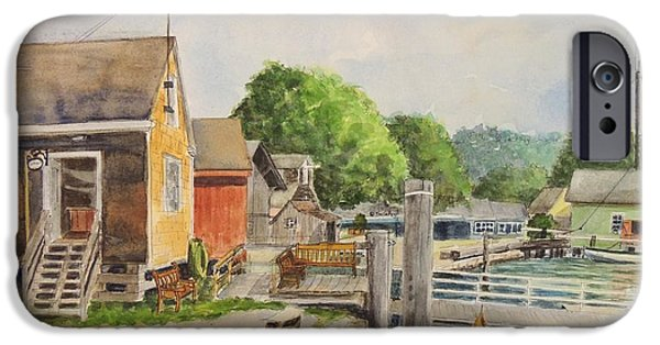 Lobster Shack iPhone Cases - Mystic Seaport Boathouse iPhone Case by Patty Kay Hall