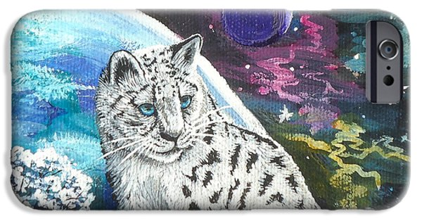 Moonscape iPhone Cases - Mythical Snow Leopard Baby iPhone Case by Ginger Reynolds