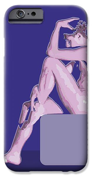 Abstract Digital Art Drawings iPhone Cases - Naked blue By Quim Abella iPhone Case by Joaquin Abella