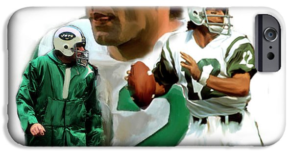 Fame Drawings iPhone Cases - Namath  Joe Namath iPhone Case by Iconic Images Art Gallery David Pucciarelli