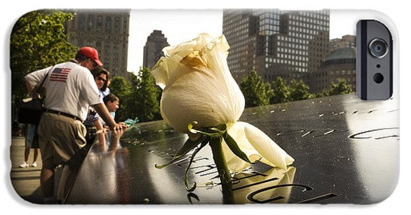 Twin Towers Nyc Digital iPhone Cases - Names engraved in bronze plates with rose at National September 11 Memorial iPhone Case by Perry Van Munster