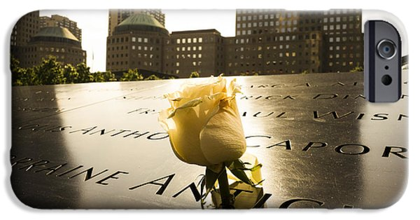 Twin Towers Nyc Digital iPhone Cases - Names engraved in bronze plates with rose at National September memorial iPhone Case by Perry Van Munster