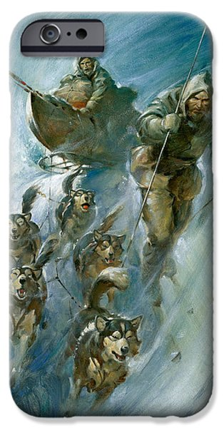 Huskies iPhone Cases - Nansen Conqueror of the Arctic Ice iPhone Case by James Edwin McConnell