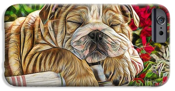 Puppy Love Framed Prints iPhone Cases - Nap iPhone Case by Marvin Blaine