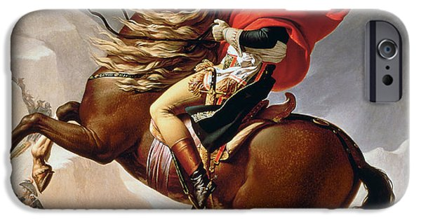 Outside iPhone Cases - Napoleon Crossing the Alps iPhone Case by Jacques Louis David