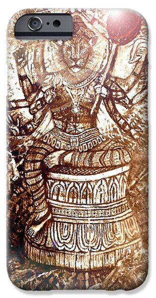 Incarnation iPhone Cases - Illuminated Narasimha Dev in Sepia iPhone Case by Michael African Visions