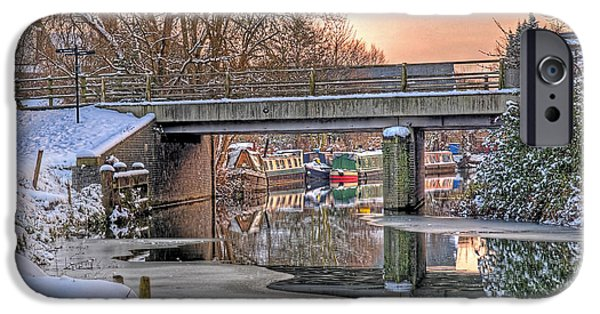 Wintertime iPhone Cases - Narrow Boats Under the Bridge iPhone Case by Gill Billington