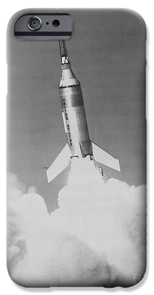 Little iPhone Cases - NASA Launch of Little Joe 2 from Wallops Island carrying Mercury spacecraft test article iPhone Case by R Muirhead Art