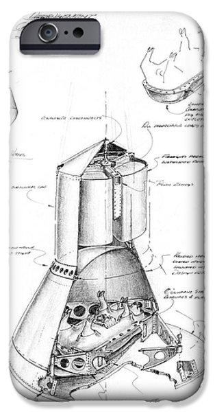 4th July Mixed Media iPhone Cases - NASA Pen ink drawing of a proposed arrangement for a Pig Capsule in Little Joe capsule first shot iPhone Case by R Muirhead Art