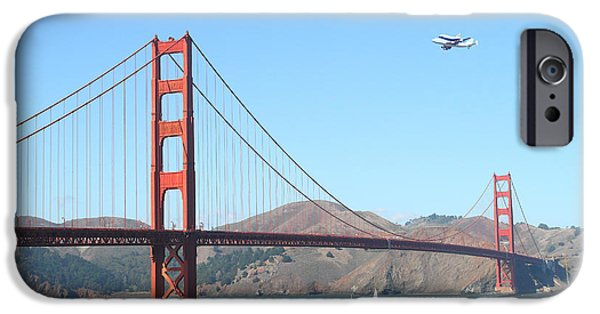 Enterprise Photographs iPhone Cases - NASA Space Shuttles Final Hurrah Over The San Francisco Golden Gate Bridge iPhone Case by Wingsdomain Art and Photography