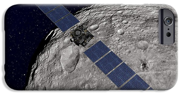Analyzing iPhone Cases - Nasas Dawn Spacecraft Orbiting iPhone Case by Stocktrek Images