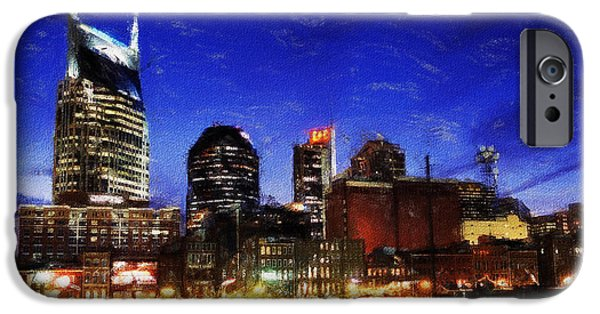 Nashville Tennessee Paintings iPhone Cases - Nashville At Twilight iPhone Case by Dean Wittle