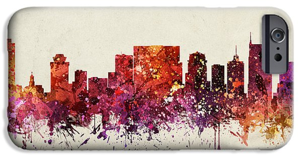 Nashville Tennessee iPhone Cases - Nashville Cityscape 09 iPhone Case by Aged Pixel