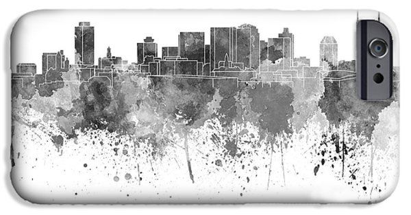 Nashville Tennessee Paintings iPhone Cases - Nashville skyline in black watercolor on white background iPhone Case by Pablo Romero