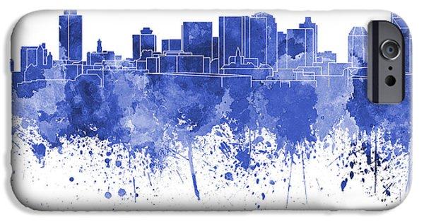 Nashville Skyline iPhone Cases - Nashville skyline in blue watercolor on white background iPhone Case by Pablo Romero